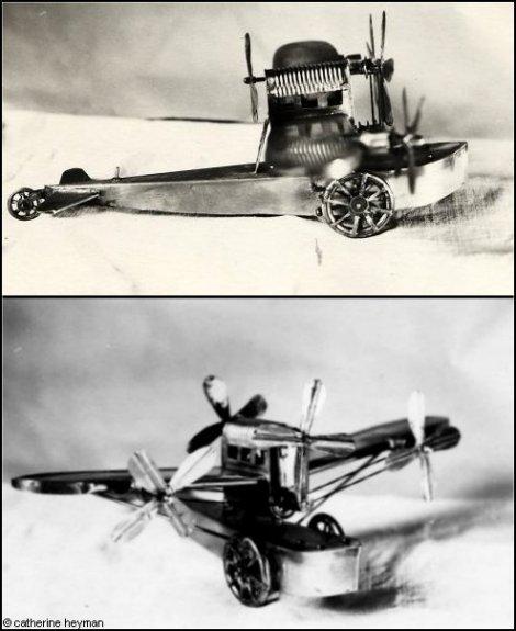 jouets, Avion en tôle acier noir et blanc
