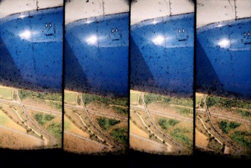 photo lomographie, Vue d'avion, r�acteurs rouill�s