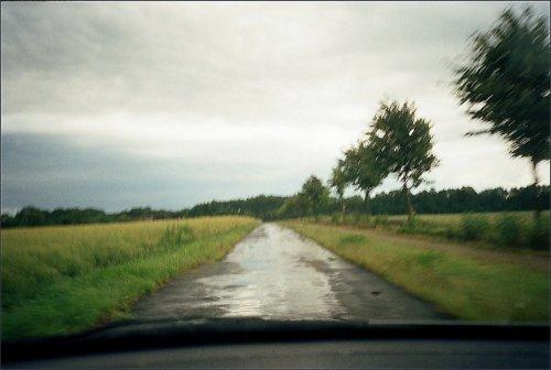 photo lomographie, Route de l'Elbe de la voiture ( camera jetable )